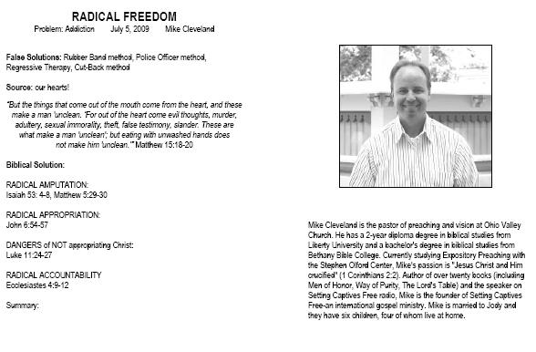 Sermon notes from Radical Freedom